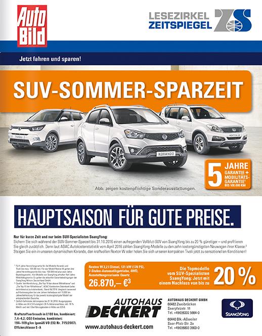 Autohaus Deckert und Saarpfalz Garage auf dem Umschlag des Lesezirkel Zeitspiegel